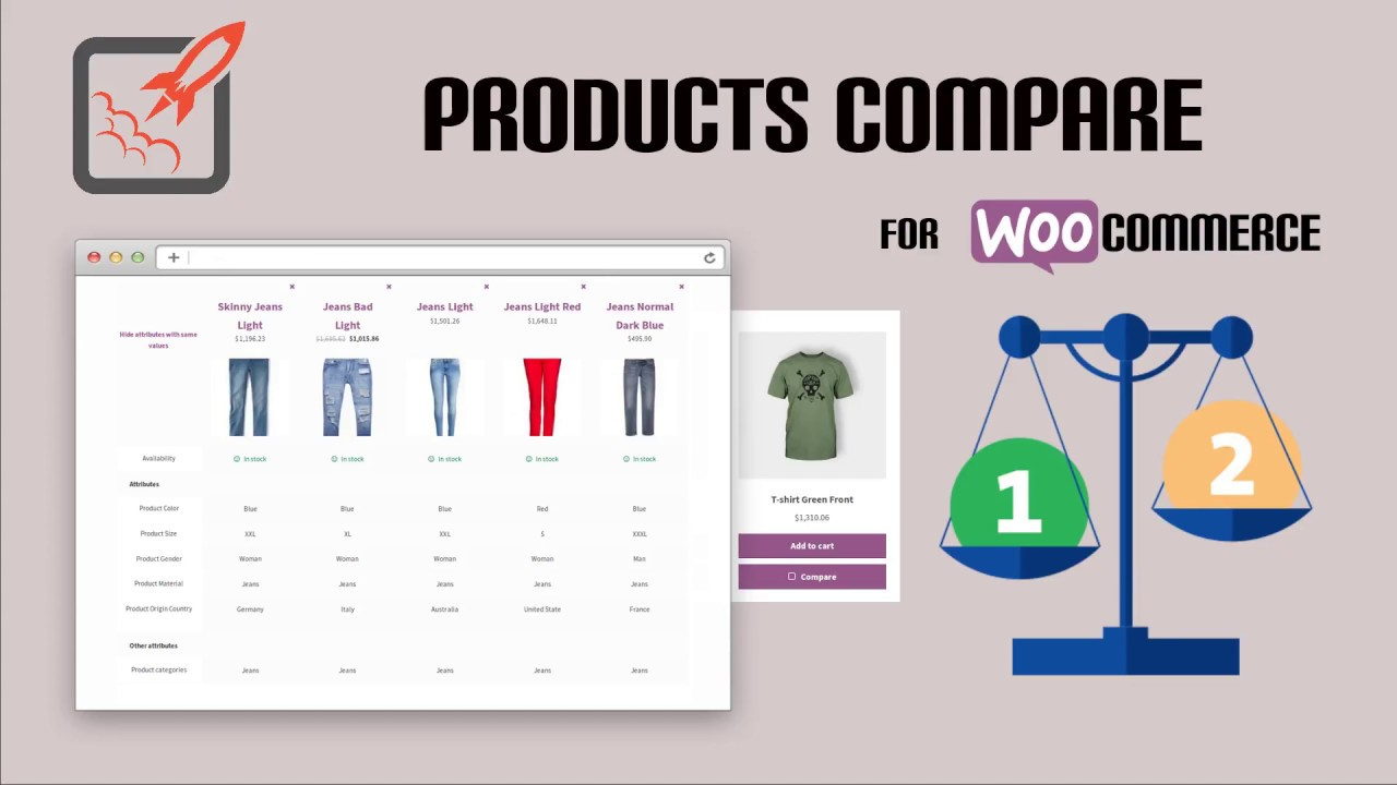 WOOCOMMERCE PRODUCTS COMPARE - YouTube