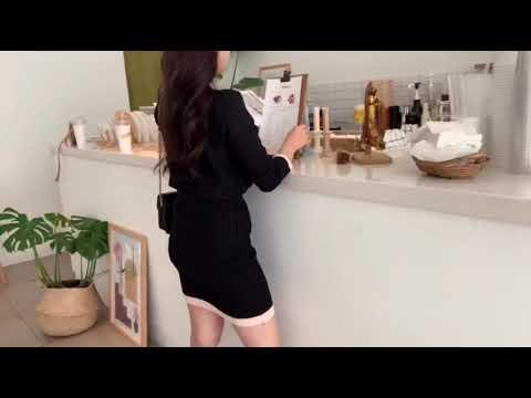 해쁘(HAPEE) - 다트 샤샤 배색 니트 투피스 영상으로 확인하세요!