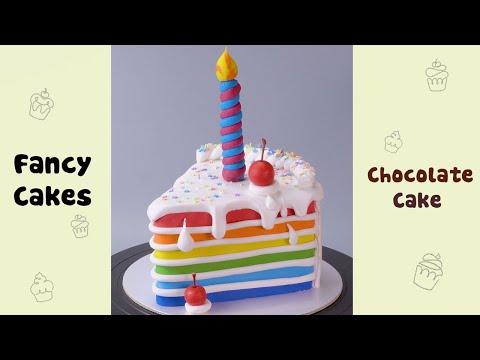Satisfying Rainbow Birthday Cake Decorating