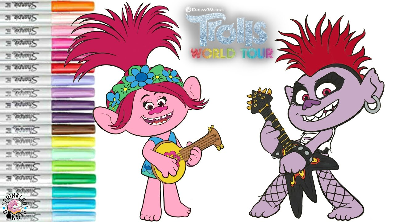 Dreamworks Trolls World Tour Coloring Book Pages Queen ...