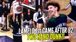 lamelo ball easy buckets two hand dunk warm ups 1st game since 92 points chino hills vs rancho