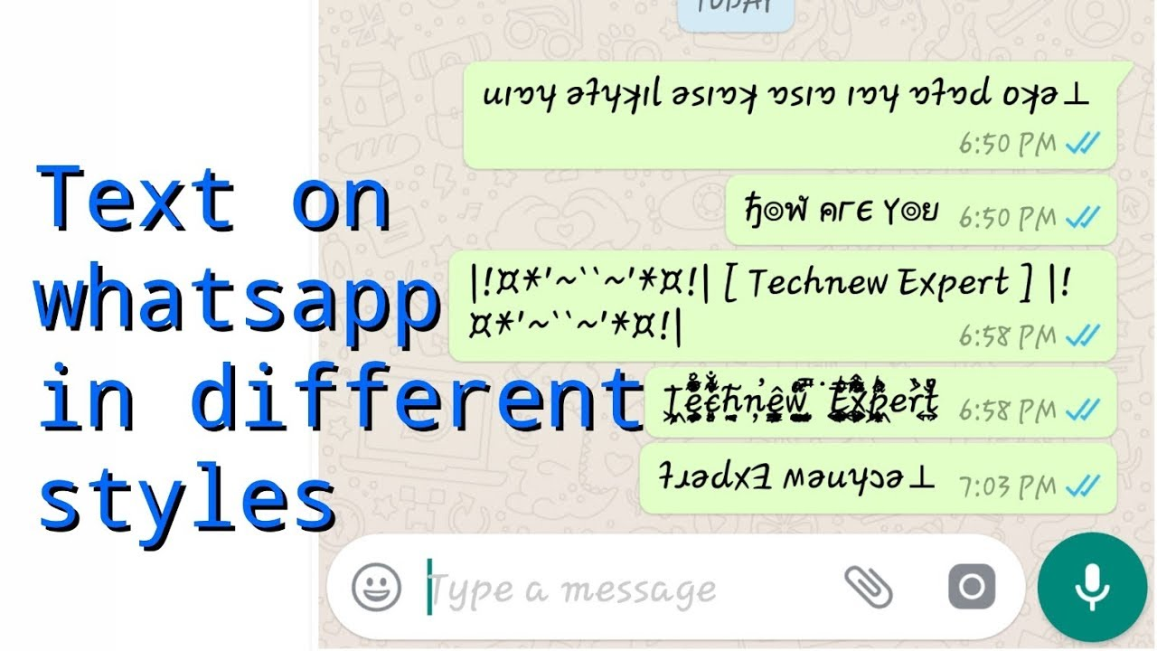 How to write on whatsapp in different styles | upside down text on whatsapp  | technew expert |