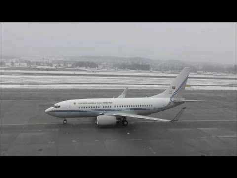 (With live ATC) Juan Manuel Santos  arrives in Zurich with FAC0001 Boeing 737