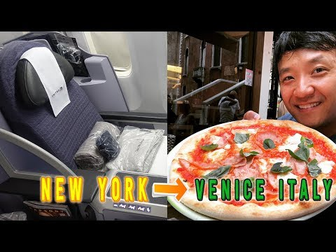 United Airline BUSINESS CLASS New York to Venice Italy & KOR