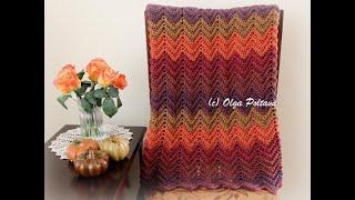How to Crochet Fall Blanket Afghan, Easy Ripple Stitch, Crochet Video Tutorial