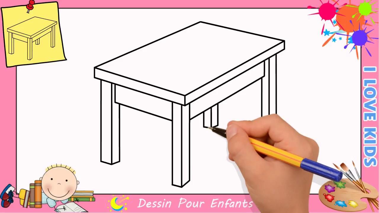 Comment dessiner une table FACILEMENT etape par etape pour ENFANTS 3  YouTube