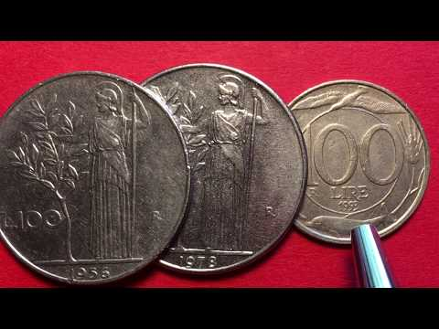 Italy 100 Lire Coins 1993, 1978, 1956