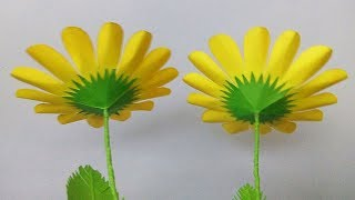how to make paper flowers easy | paper flower stick | paper flower making step by step