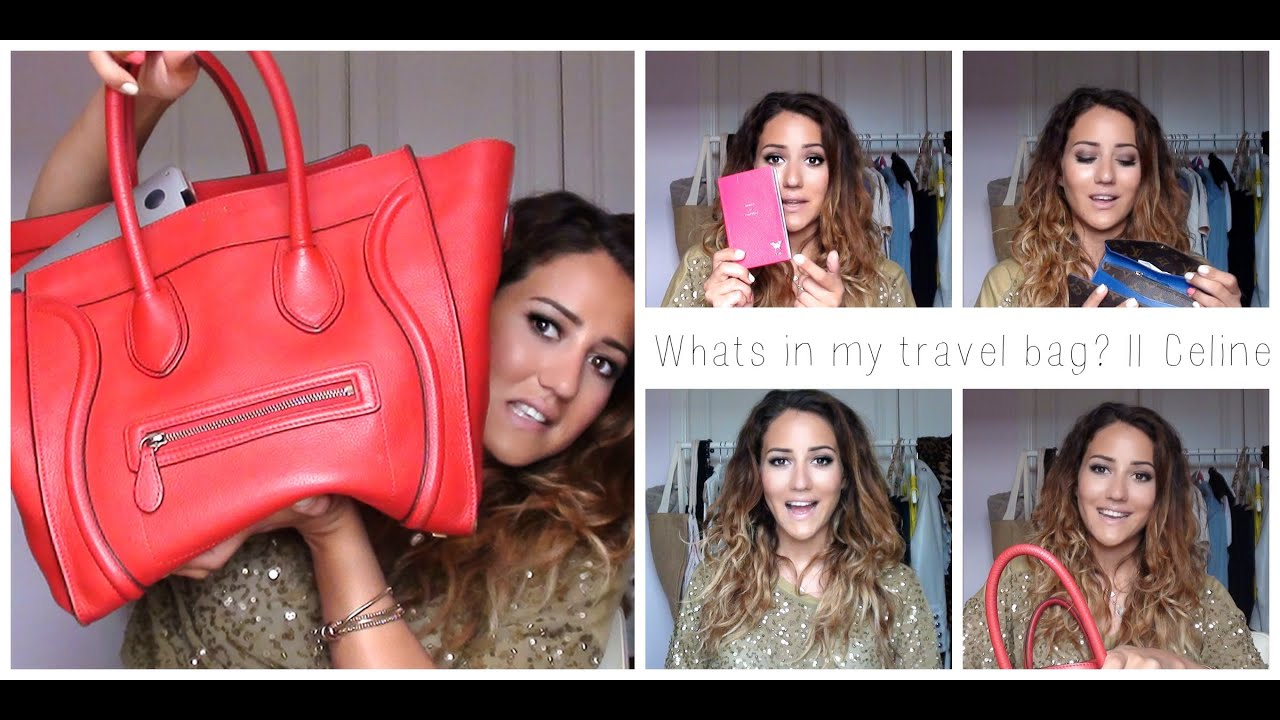 celine mini luggage tote red