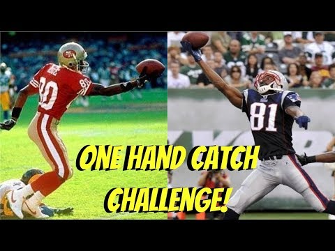 WHO CAN MAKE A ONE HAND CATCH FIRST?!? JERRY RICE VS RANDY MOSS!! (ICE WATER POURED ON MY HEAD)