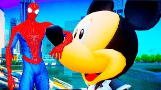 Mickey Mouse rolls Spider Man on machines in the city! Funny race! Cartoons for children!