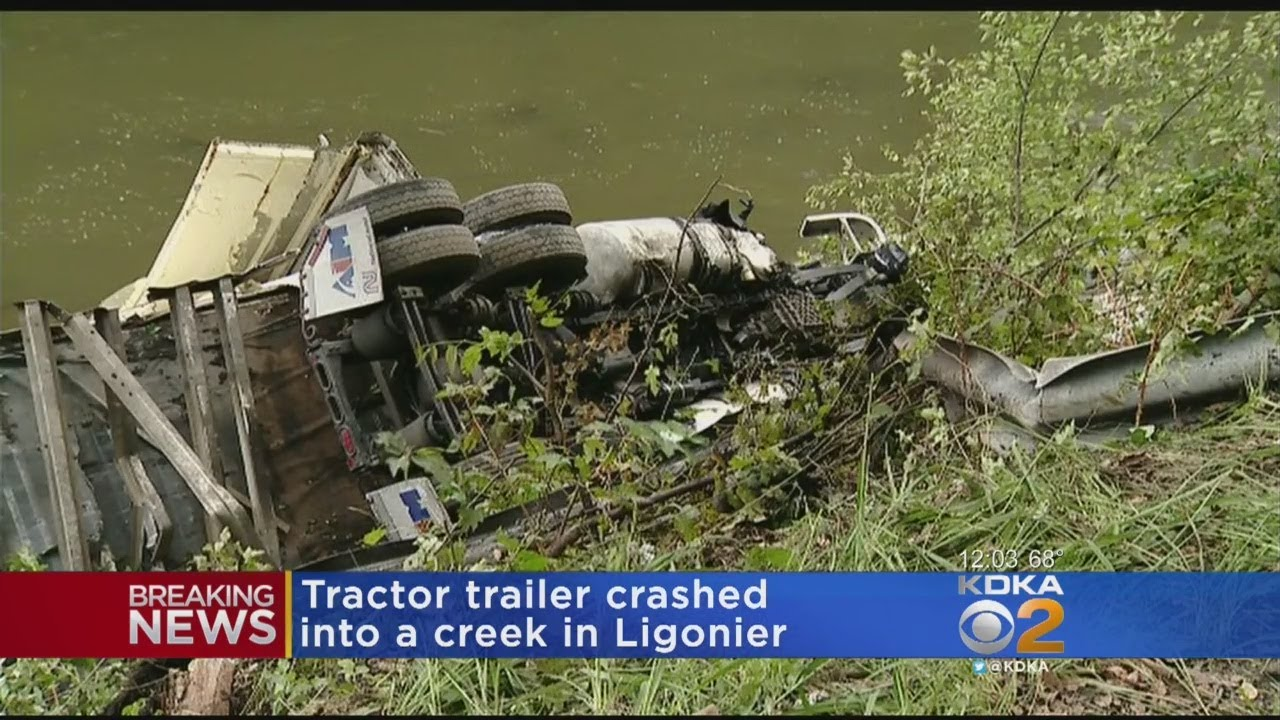 Tractor-Trailer Crashes Into Creek Along Route 30 In Ligonier, 2 Injured