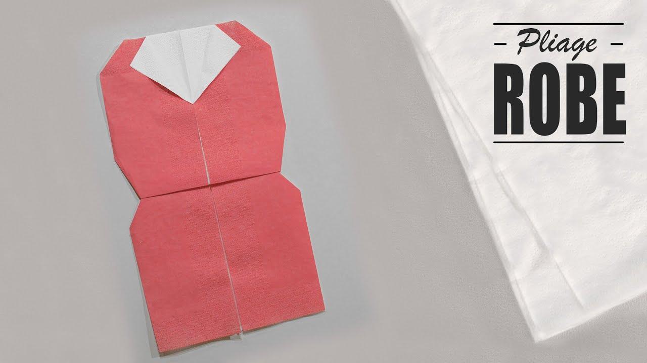 Pliage Serviette Robe A Col Origami Youtube