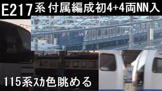 長野総合車両センター E217系付属編成到着 大寒直後の早朝風景