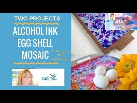 Egg Shell & Mosaic Alcohol Ink & Resin Trays with Jane Monteith #janelovesdesign