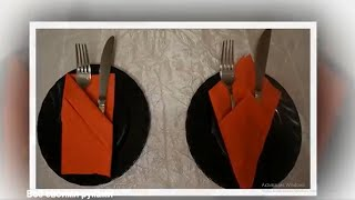 Как красиво сложить салфетки для столовых приборов/How beautifully folded napkins tableware