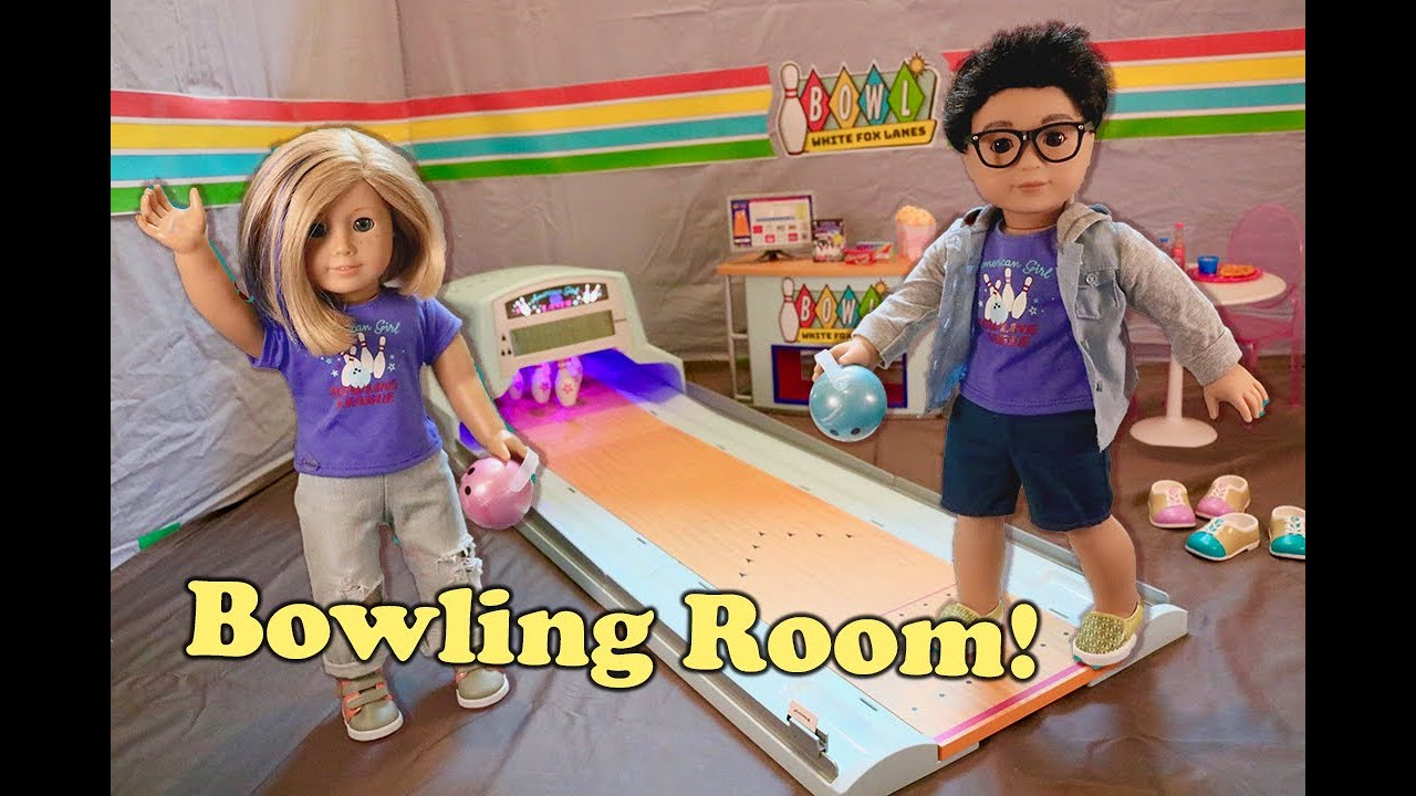 AMERICAN GIRL DOLL BOWLING GAME ROOM TOUR! | White Fox Stopmotion