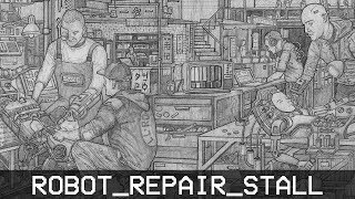 ROBOT_REPAIR_STALL. [Pencil Drawing Time-Lapse] // Narrated Story
