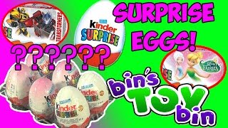 Kinder Surprise Eggs! Transformers & Disney Fairies!! Opening by Bin