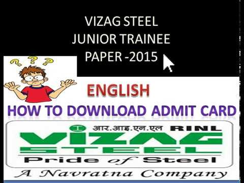 Vizag Steel Junior Trainee 2015 Paper/How to download Admit Card??