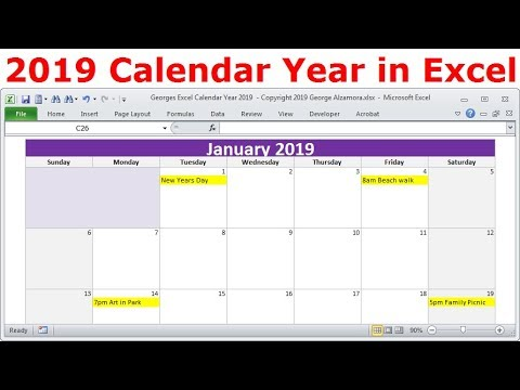 2019 Calendar Year in Excel, 2019 Monthly Calendars, Year 2019