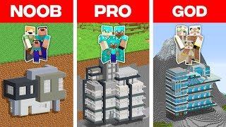 Minecraft NOOB vs. PRO vs. GOD: SECRET FAMILY BASE BUILD CHALLENGE in Minecraft (Animation)