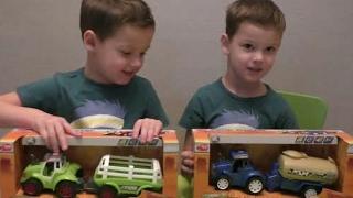 Трактор  молоковоз и зеленый с грузовым прицепом для сена дики тойз (dickie toys) Распаковка игрушек