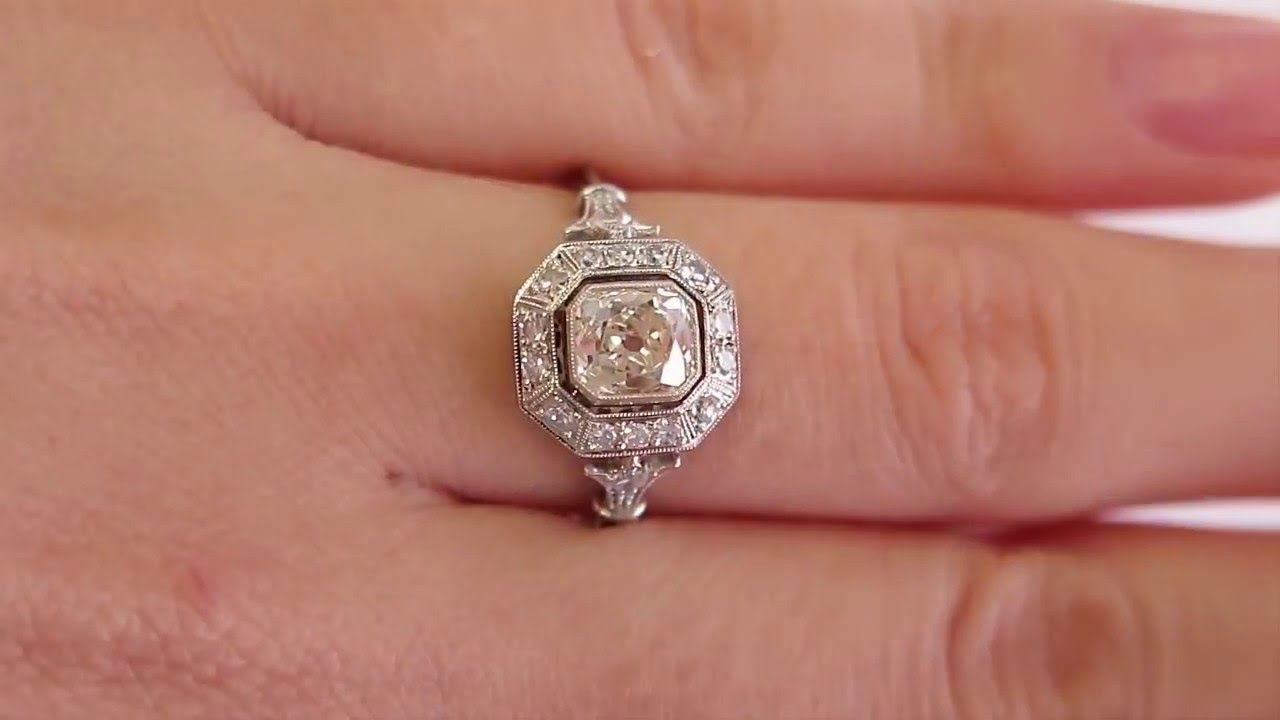 Vintage 125ct Old Mine CUSHION Diamond Solitaire Engagement Pave