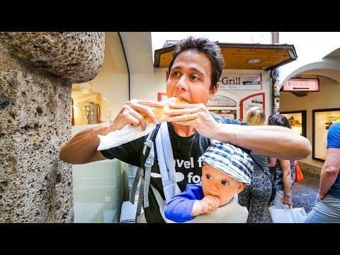 Austrian Food - WIENER SCHNITZEL and Best Beer Garden in Salzburg, Austria!