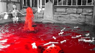 Horror Skeleton Funeral in Pool of Blood