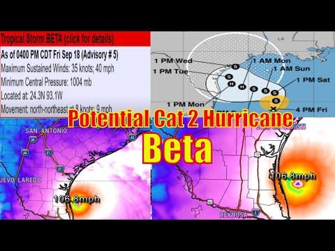 Tropical Storm / Cat 2 Hurricane Beta Forecast & Track - Gfs VS Euro VS Nam3K - The WeatherMan Plus