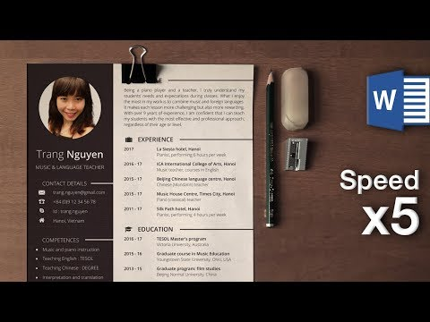 How to create a modern resume with Microsoft Word (sped up)