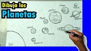 Cómo dibujar el sistema solar - Solar system drawing