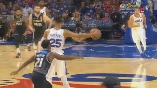 Ben Simmons Shocks The Sixers Crowd With Off The Backboard Alley-Oop Pass To Markelle Fultz!