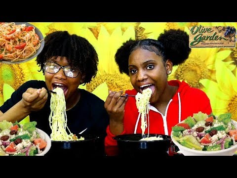 OLIVE GARDEN MUKBANG! WE TRY OLIVES FOR THE FIRST TIME!
