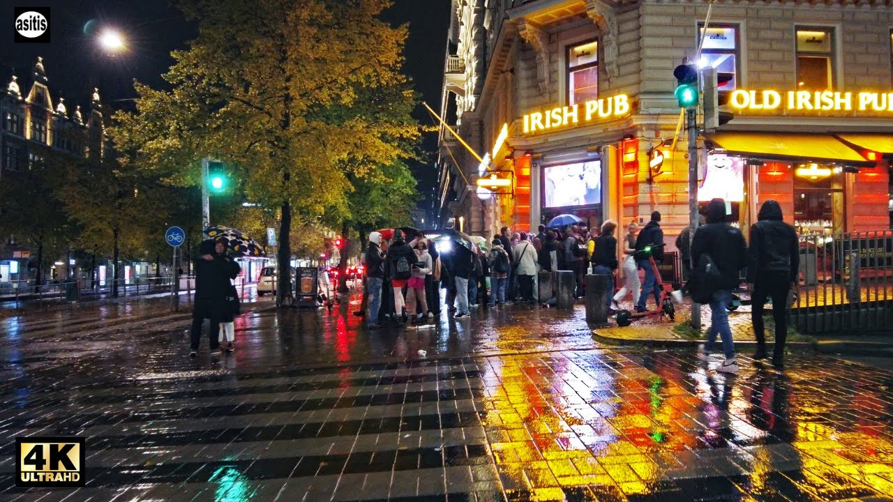 Walking in the Rain at Night in Helsinki Finland City Center (23 Sep 2021)