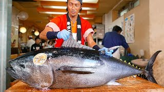 Japanese Street Food - BLUEFIN TUNA CUTTING SHOW & SUSHI / SASHIMI MEAL