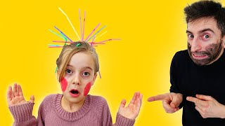 Girl and friend play Hairstyle tubules from lollipops