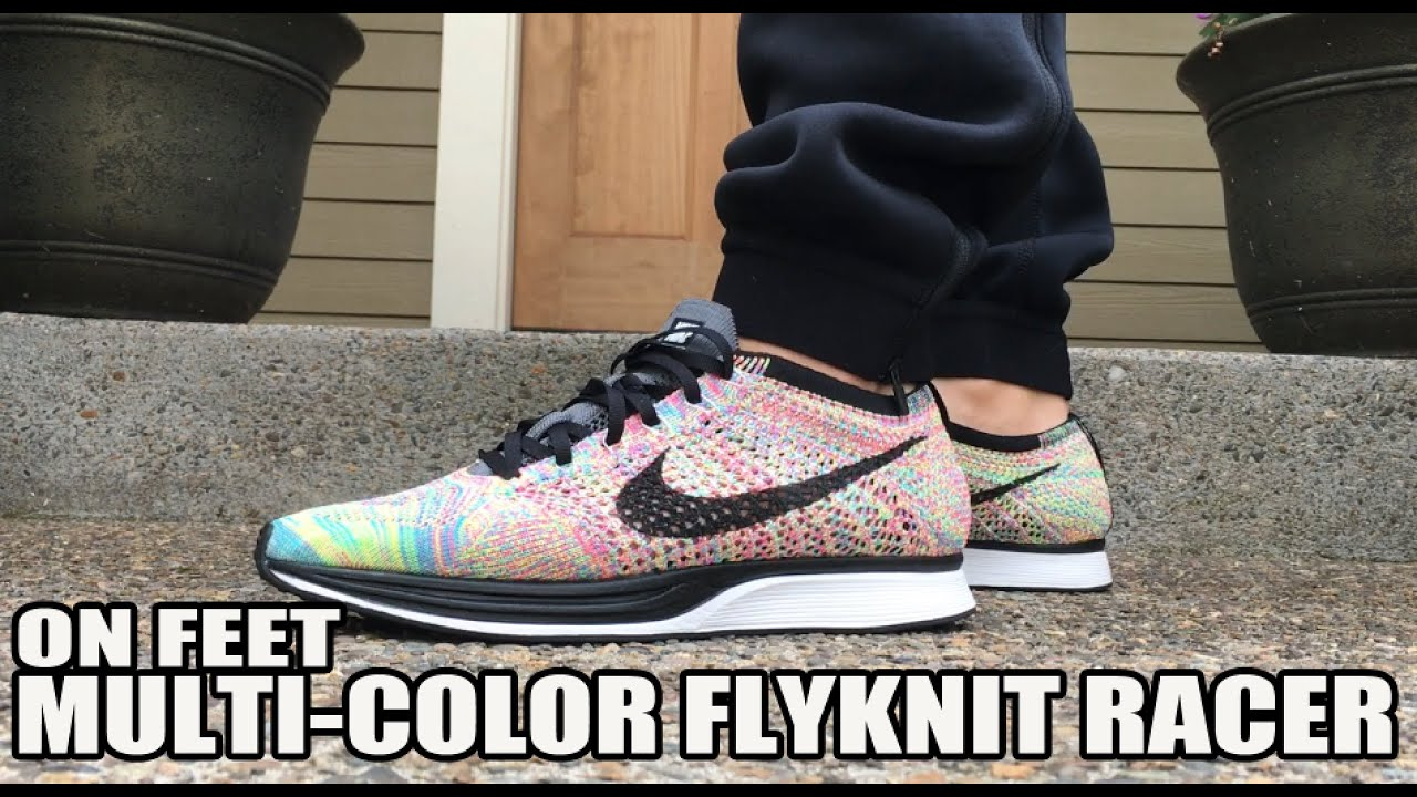 6c1b7853a61a ... free shipping 2016 nike flyknit racer multi color on feet review  youtube 5060f d66c4