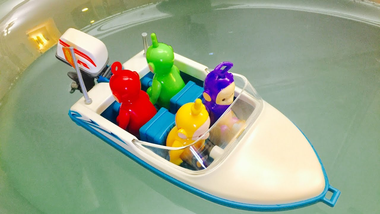 MOTOR BOAT Ride In The BATHTUB with TELETUBBIES TOYS, - YouTube