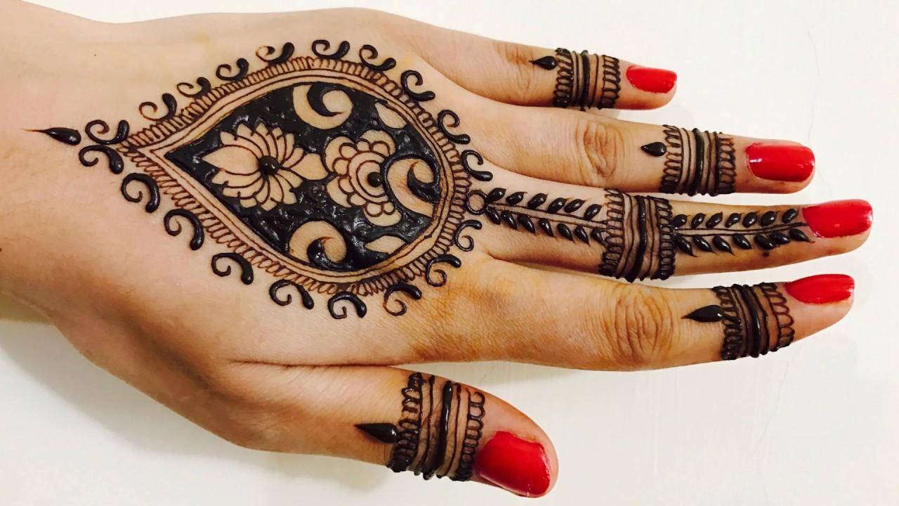 Wedding Tradition Lotus Mehndi design For Upper Side