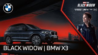 homepage tile video photo for The BMW X3 meets Marvel Studios' Black Widow   BMW USA