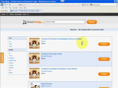 MusicKong MP3 Music Coparison, Search and Purchase Online Tool Tutorial