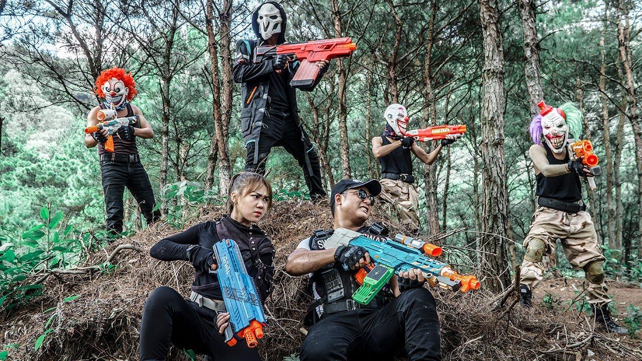LTT Films : Couple S.E.A.L X Nerf Guns Fight Petty Theft Crime Group Black Demon Mask Over Game