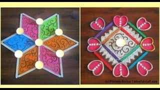 Two quick and easy rangoli designs using popsicle sticks | Innovative rangoli by Poonam Borkar