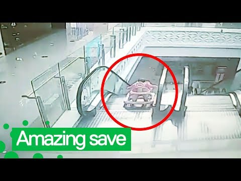 Kristina Kage - Man runs to rescue baby falling down an escalator