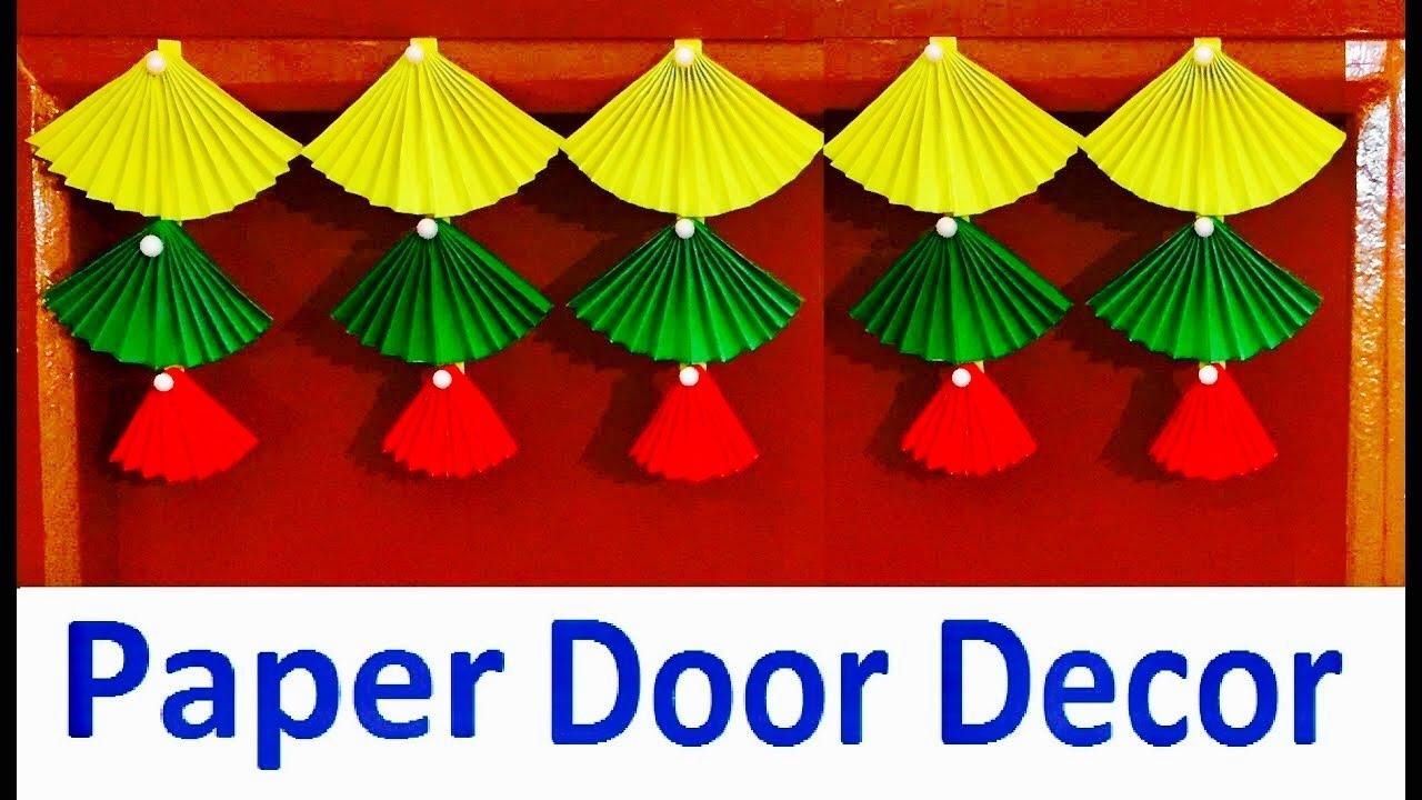 #decoration #Quelling  sc 1 st  YouTube & Door hanging Toran | Door decor craft from simple color paper ...