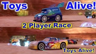 Cars 2: The video game - 2 player splitscreen Race on Canyon Run