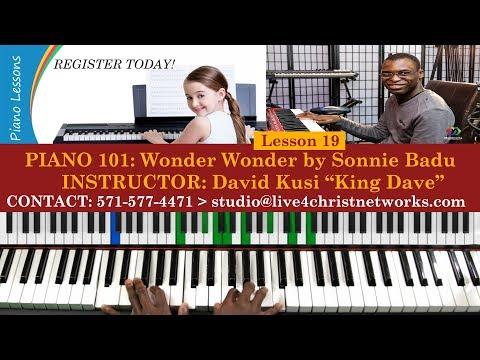 Piano 101 || Lesson 19 || Wonder Wonder by Sonnie Badu || Piano Midi Chords Demo