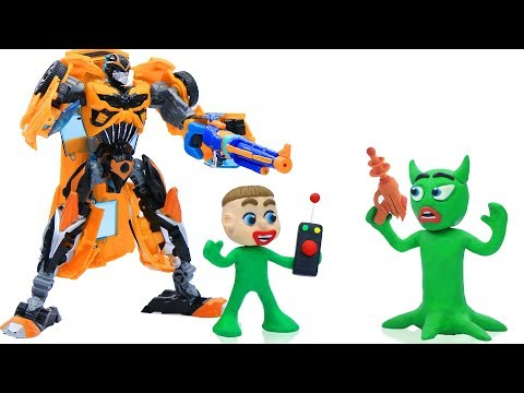 BUMBLEBEE SAVES BABY FROM ALIEN 馃挅 Play Doh Stop Motion Cartoons